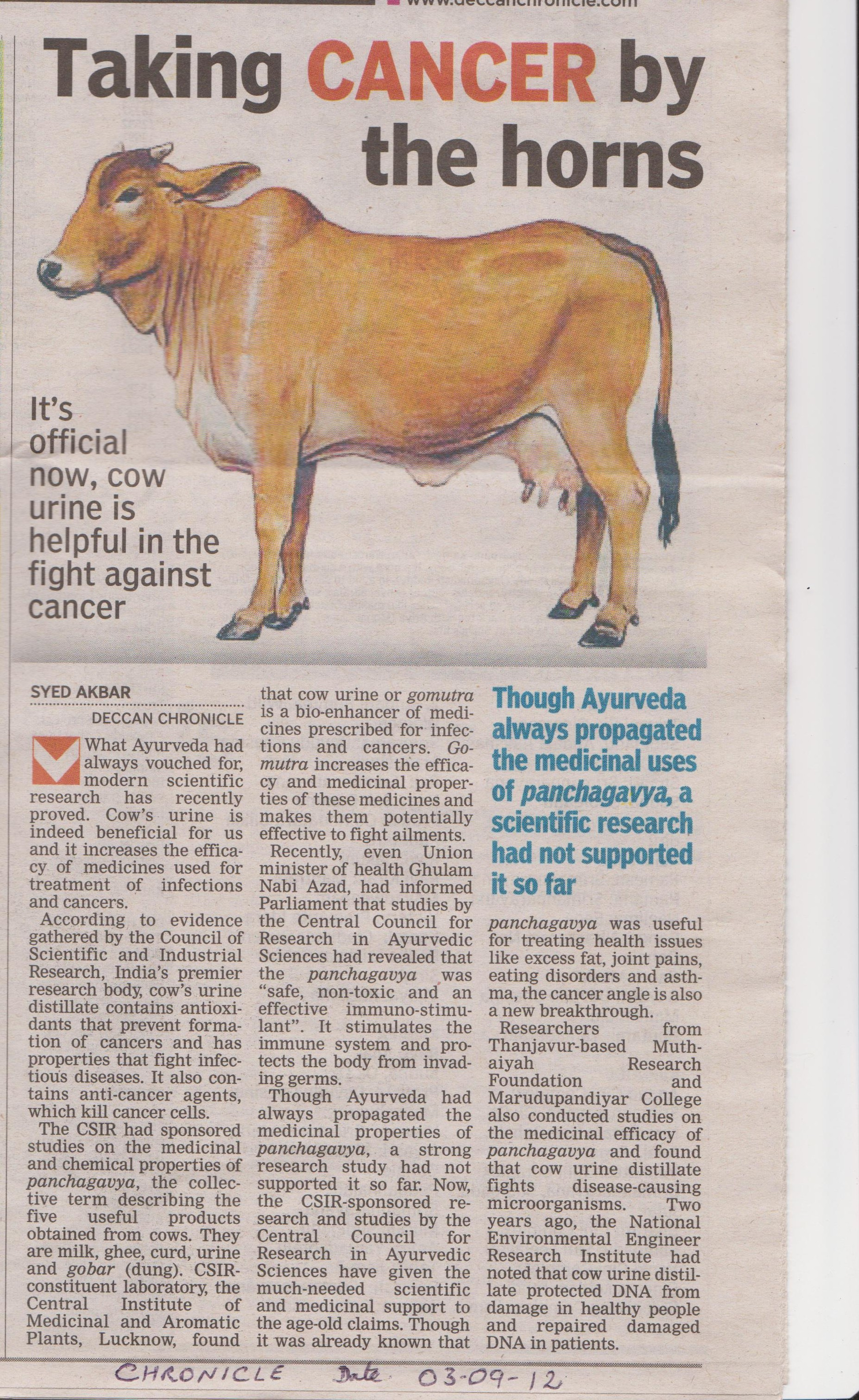Cow-Urine-care cancer paper cutting
