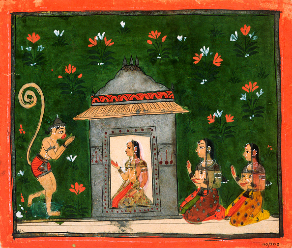 This 17th-century Deccan-style illustration of a scene in the Ramayana shows the monkey general Hanuman before Rama's wife, Sita. The Ramayana is the story of Rama's life; Hanuman helps him to defeat the demons in order to win back Sita. | Located in: National Museum of India. (Photo by Angelo Hornak/Corbis via Getty Images)